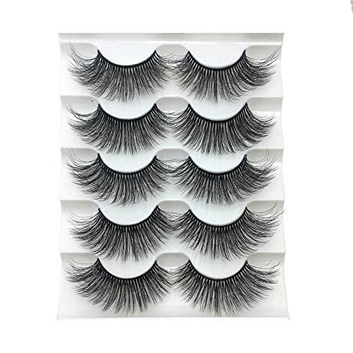 5 Paare der Frau Art und Weise handgemachte Fluffy Multilayern natürliche lange falsche Wimpern mustern Peitsche-Verlängerungs-3D Faux Mink Haar Gewirr