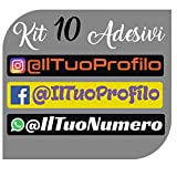 CrisPhy Set di x10 Adesivi in Vinile con Il Tuo Profilo Instagram, Facebook, Whatsapp – Bici, Casco, Racchetta da Paddle, Skateboard, Auto, Moto, ECC (Font Pack 2)