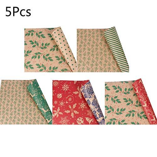5 st Kerstmis Inpakpapier Roll Kraft Gift Inpakpapier Kraft Paper Gift Bag