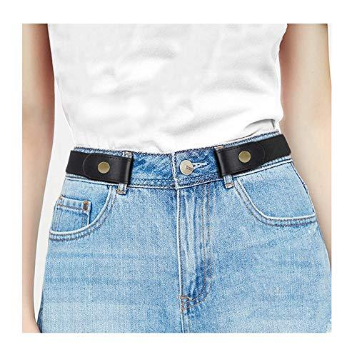 JasGood Schnallenfreier Stretch Damen Gürtel für Jeans Hose, Plus Size Elastischer Unsichtbare Gürtel ohne Schnalle für Damen bis zu 120cm, Schwarz, Hosengrößen 80cm-120cm