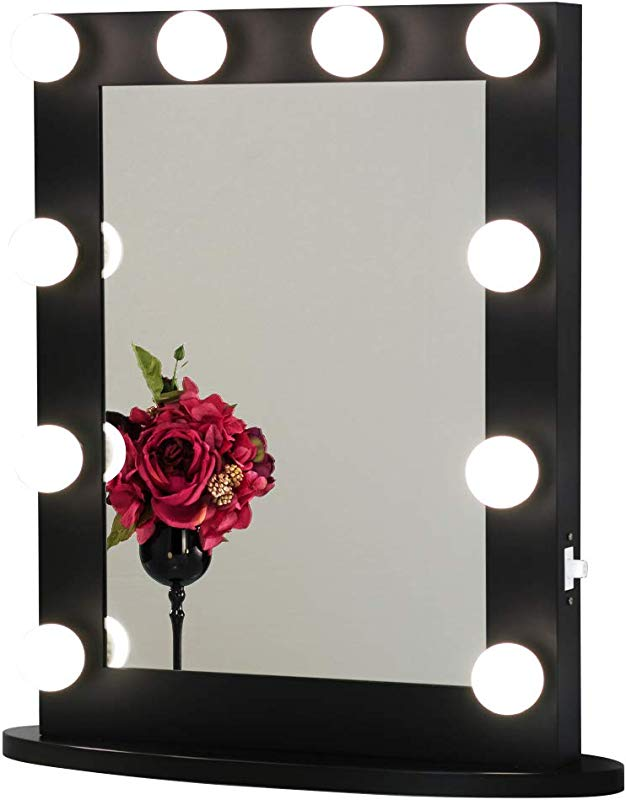 Toyswill Hollywood Style Vanity Mirror With 2 Outlets And USB Ports Tabletop Or Wall Mounted Lighted Makeup Mirror Free Dimmable LED Bulbs Black
