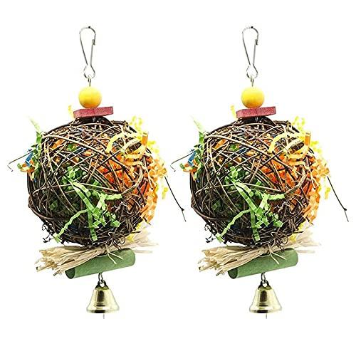 2 stuks kauwspeelgoed voor vogels, voeder, hakselaar, speelgoed, kooi voor papegaaien, hakselaars, speelgoed, om op te hangen, voor cockatiel Conuro grijs Afrikaanse