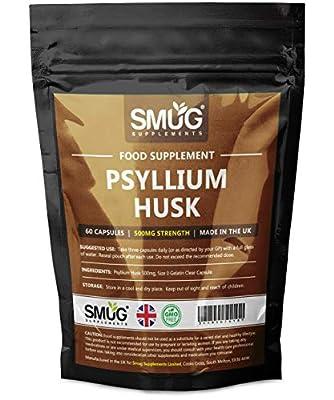 Psyllium Husk Fiber Capsules by Smug   Pure & Natural Fibre Pills   500mg   UK Manufacturer (60 Capsules)