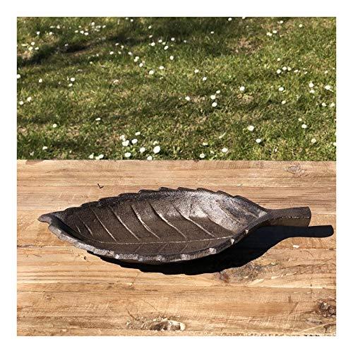 chemin_de_campagne Coupe Coupelle Feuille Bain d'oiseaux Mangeoire Fonte 26 cm x 12.50 cm