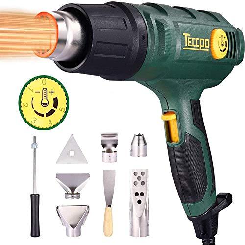 Pistola ad aria calda, pistola termica professionale TECCPO 2000 W 240 V, 3 regolatori di temperatura (50 °C a 650 °C), volume SuperArea da 500 l/min, con 8 accessori
