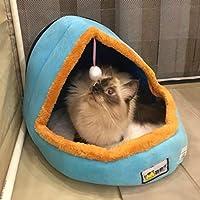 犬の猫の小さな家のベッド、ペット犬の猫暖かいベッドペットクッション犬のケンネル猫城の折りたたみ式子犬の家、サイズ:l Zoe's Shop (Color : Blue)