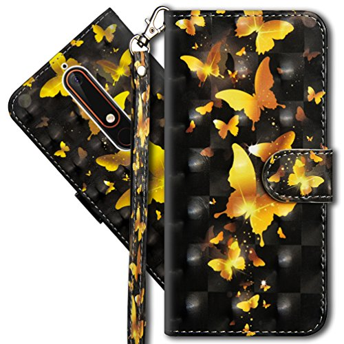 COTDINFORCA Nokia 6.1 (2018) Wallet Case, Nokia 6 2018 Premium PU Leather Case, 3D Creative Painted Effect Design Full-Body Protective Cover for Nokia 6.1 2018-5.5  inch. PU- Golden Butterfly