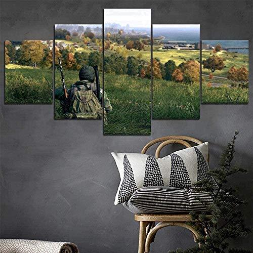 JIUGE Wohnzimmer Home Decorations Wandkunst 5 Panel Leinwand Bildspiel DayZ Soldat Bild Gedruckte Poster gerahmt
