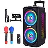"AVAH Dual 8"" Bluetooth Karaoke Machine for Adults & Kids Wireless Portable PA Speaker System with 3..."