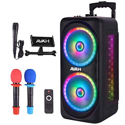 "AVAH Dual 8"" Bluetooth Karaoke Machine for Adults&Kids Wireless Portable PA Speaker System with 3 Microphones, Flashing DJ Lights, Rechargeable Battery Powered DJ Karaoke Speakers"