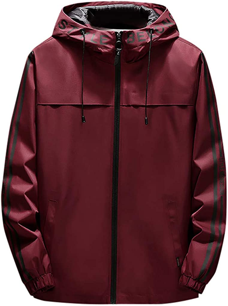 CTAU Outweat for Mens Autumn Winter Casual Fashion Printing Hoodie Zipper Outdoor Sport Coat