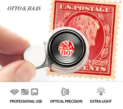 Otto&Haas Lighted Jeweler's Loupe Magnifier - 6 LED Illuminated 20X Magnification Loop, Scope Lupe with Light for Coin Collection Supplies, Stamp Collecting, Eye-Piece for Close Work, Collector's Gift