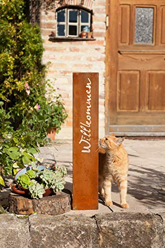 """Dekoleidenschaft Stand-Schild """"Willkommen"""" aus Metall, Rostoptik, Flurdeko, Gartendeko"""