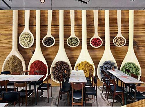 Muurschildering achtergrondfoto behang wooncultuur individuele fotobehang retro 3D lepel restaurant wandafbeelding 430 x 300 cm.