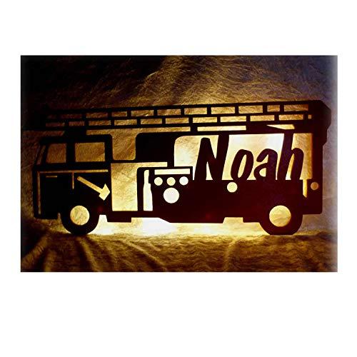Schlummerlicht24 Led Nachtlicht Lampe Holz Deko Feuerwehr-mann mit Name individuell für Junge Jungs Feuerwehrmänner Wohnzimmer Schlafzimmer Kinder-Zimmer lustige witzige originelle Geschenke mit namen