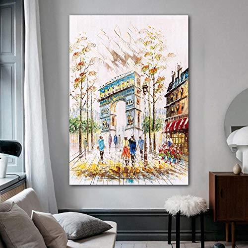 Street Road Autum Tela Pittura Moderna Decorazione della casa Poster e Foto Wall Art Immagine Soggiorno Camera da Letto 50x70 cm