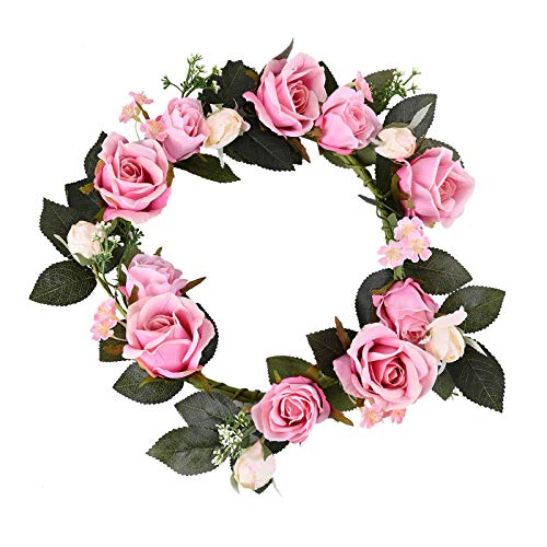 Foeyyir Artificial Wreath for Front Door 14 inch Pink Peony Simulation Flowers Garland Handmade Spring and Summer Wreaths for Living Room Wedding Party Decoration