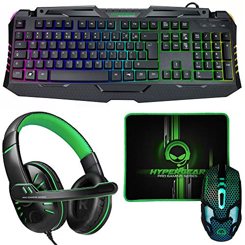 HyperGear 4-in-1 Gaming Kit [Full-Sized RGB Backlit Keyboard, Ergonomic 6-Button Backlit Scroll-Wheel Mouse, Stereo Headphones w/Mic & Mousepad] PC Compatible