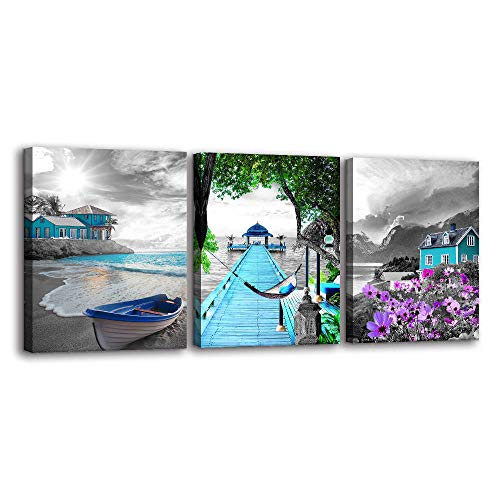 3 Pieces Canvas Wall Art for Living Room – Black and White Landscape Ocean Beach Painting Purple Flower Teal Blue Sail Boat Nature Pictures Modern Artwork for Bedroom Bathroom Kitchen Wall Décor
