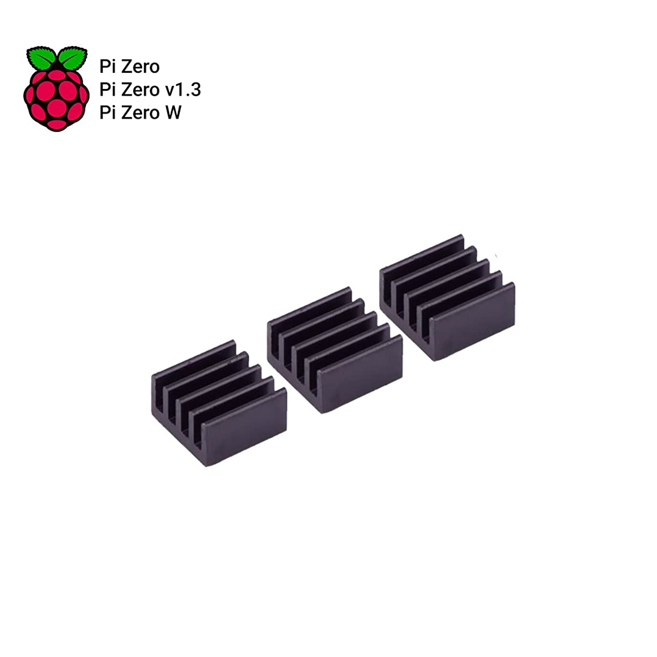 MakerSpot Pi Zero Heatsink Kit with Adhesive Tape, Mini Cooler Heat Sink for Cooling 11mm x 11mm x 5mm - 3 Pack - Black
