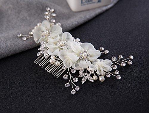 Musuntas Handarbeit Eleganter Retro elegant Damen Blumen Braut Kamm Perlen Strass Hochzeit Brautschmuck Braut Haarschmuck Strass Haarklammer
