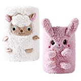 2 Pack Fleece Baby Blankets,Ultra Soft Sherpa Baby Blanket for Girls and Boys, Cozy Crib Blanket for Infants and Toddlers, Nursery Blanket with 3D Animal Embroidery, 36x24,White Sheep & Pink Bunny