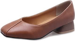 Bonrise Women's Low Heel Oxford Loafers Shoes Slip-On Retro Square Toe Block Heels Classic Oxfords Black