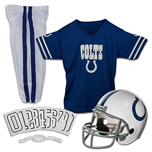 Franklin Sports Indianapolis Colts Kids Football Uniform Set - NFL Youth Football Costume for Boys & Girls - Set Includes Helmet, Jersey & Pants - Large