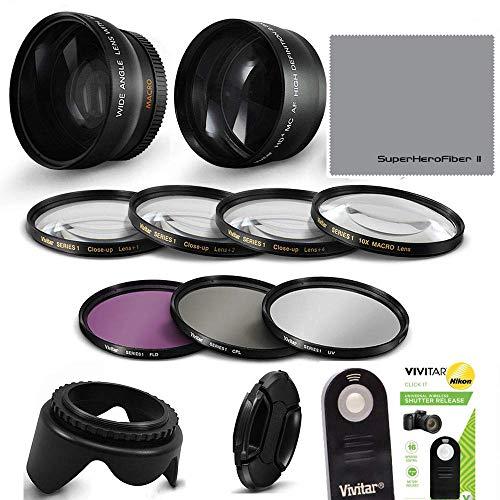 55MM HD 4K 8K Wide Angle FISHEYE Lens + Macro Attachment Lens + 2.2X TELEPHOTO Zoom Lens +IR Remote Shutter Control + Closeup Macro Lens KIT+ HD Filter KIT for Nikon D3400 D3500 D5600