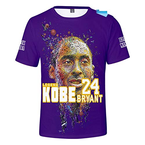 JHJU Camiseta Lakers Nº 24 para hombre y mujer de manga corta, sudadera casual de moda, camisetas de cuerpo swinging XXL B