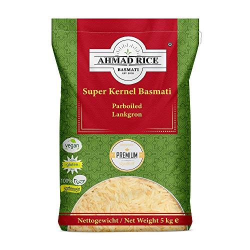 Basmati Reis AHMAD RICE vom Himalaya, Sorte: Super Kernel Basmati Langkorn Parboiled in Premium Qualität 5 KG