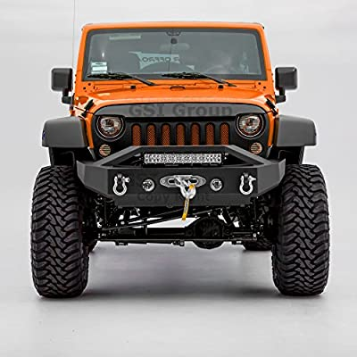 "GSI Textured Rock Crawler Stubby Front Bumper w/OE Fog Light Hole,Built-In 21""~22"" LED Light bar mount+Winch Mount Plate for 07-17 Jeep Wrangler JK"