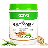 OZiva Organic Plant Protein (30g Vegan Protein - Pea protein Isolate, Brown Rice Protein & Quinoa, Soy free) for Everyday Fitness, Unflavored, 500g