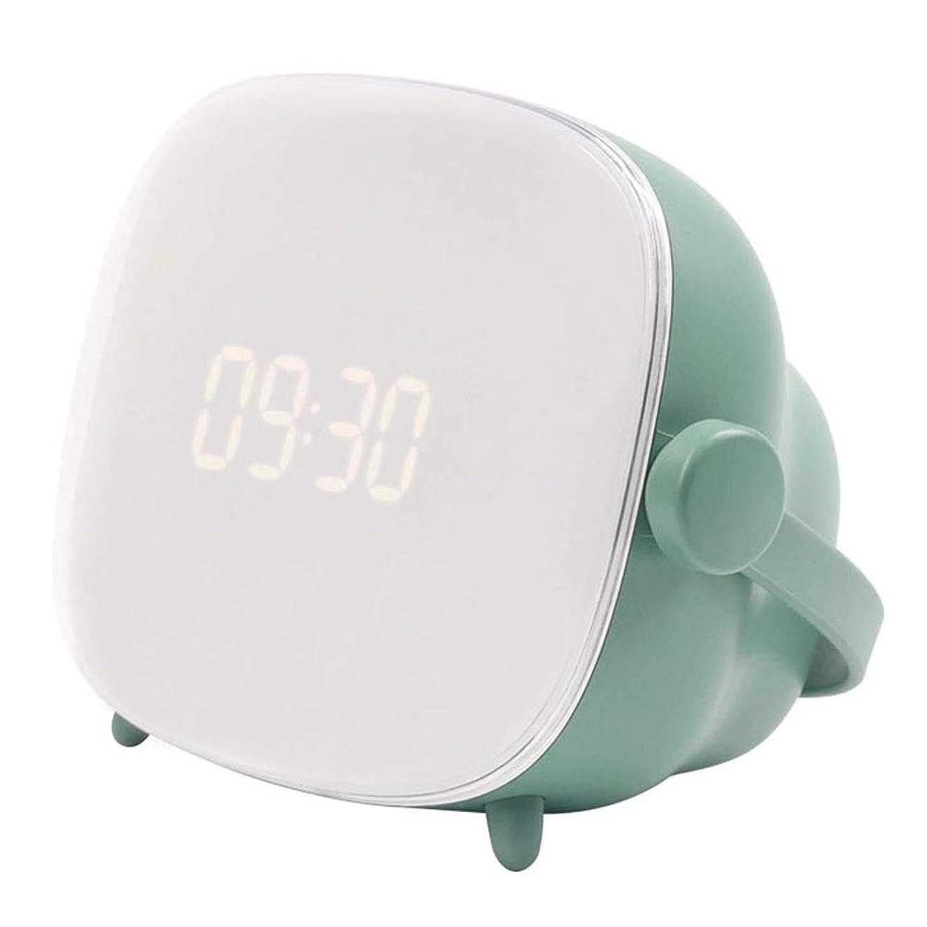市民権メンタル便利創造的な目覚まし時計光学生電子目覚まし時計多機能ベッドサイドランプ充電式 (Color : Green)