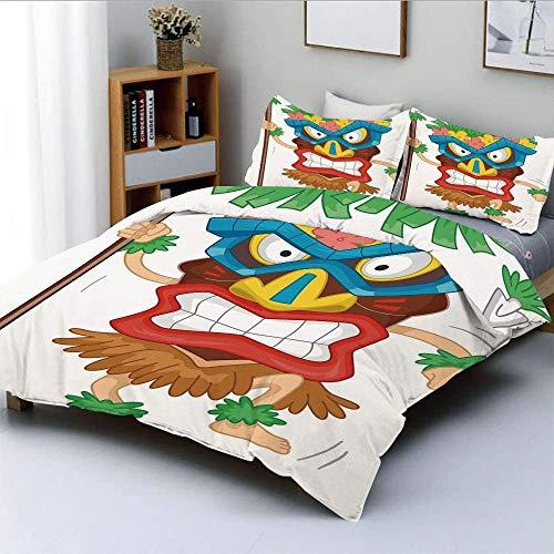 Juego de funda nórdica, hombre nativo con máscara, ilustración, disfraz tribal de dibujos animados, ritual primitivo, decorativo, juego de cama de 3 piezas con 2 fundas de almohada, multicolor, el mej