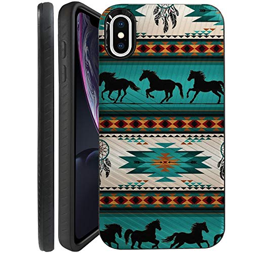 CasesOnDeck Case Compatible with [Apple iPhone XR/iPhone 10R 6.1' Screen ] Textured Tribal Floral Designs On Dual Layer Embossed Slim Cover (Horse Tribal)