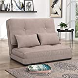 Adjustable Floor Sofa Chair Foldable Futon Sofa Bed with Two Pillows (Beige)