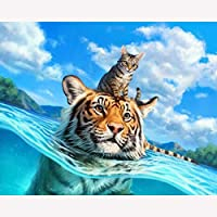 Diy Oil Painting Drawing with Brushes Paint Paint by Number Kit for Adults Decoration タイガーと猫-16x20インチ(diyの木製フレーム)