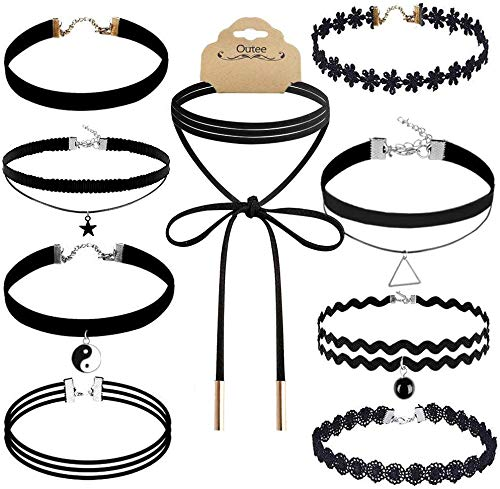 Outee 9 Pcs Choker Set Black Chokers Necklaces for Women Black Velvet Choker Necklaces for Teen Girls Henna Tattoo Ribbon Chokers for Women