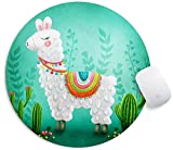 YTMYAN Funny Llama Mouse Pad Round Gaming Waterproof Non Slip Rubber Backing Mousepad for Laptop Computer PC Office