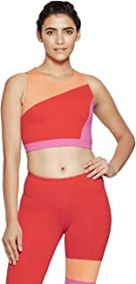 fe8a5c54db5ed JoyLab Women s Premium High Neck Sports Bra with Back Mesh - Cantaloupe  Orange -