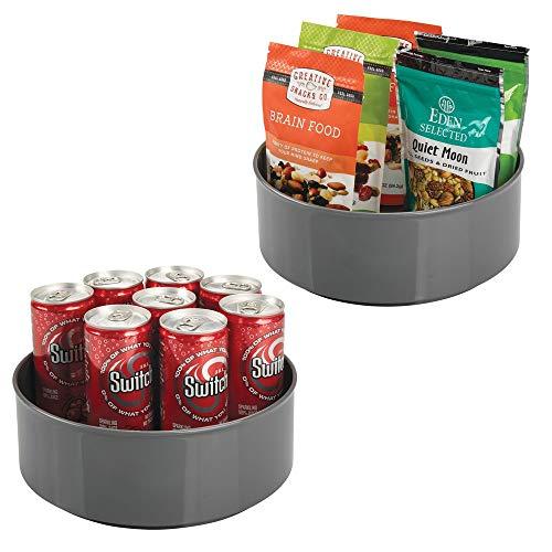 mDesign Lazy Susan plateau tournant en plastique pour épices, aliments, etc. (lot de 2) – accessoire de rangement pour placard – carrousel cuisine avec rebord très élevé en plastique – gris ardoise