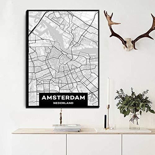 Leinwand Malerei Wandkunst Bild benutzerdefinierte Druckwelt Amsterdam Stadt Kunst Leinwanddruck Malerei Wohnkultur rahmenlose Kunst dekorative Malerei A39 60x80cm