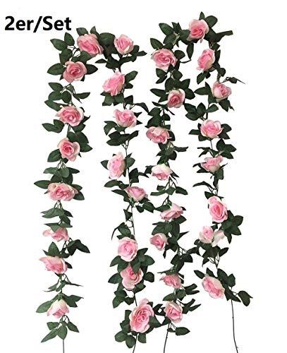YXJD 2pcs Blumengirlande Rosengirlande Rosen Rebe Kunstpflanze für Hochzeit Garten Haus Party Wand Deko Insgesamt 32 Rosen 16 Fuß