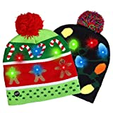 Fitkey 2 Pack LED Light-up Knitted Hat with 3 Flashing Modes for Holiday Xmas Christmas (One Size Fits More)