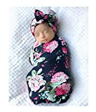 Mummyhug Baby Receiving Blanket Newborn Wrap Floral Printed Swaddle Headband Set