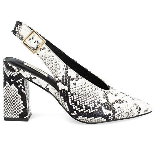 Zapato Salon de Mujer con Punta Fina Destalonado Tacon Alto Primavera Verano...