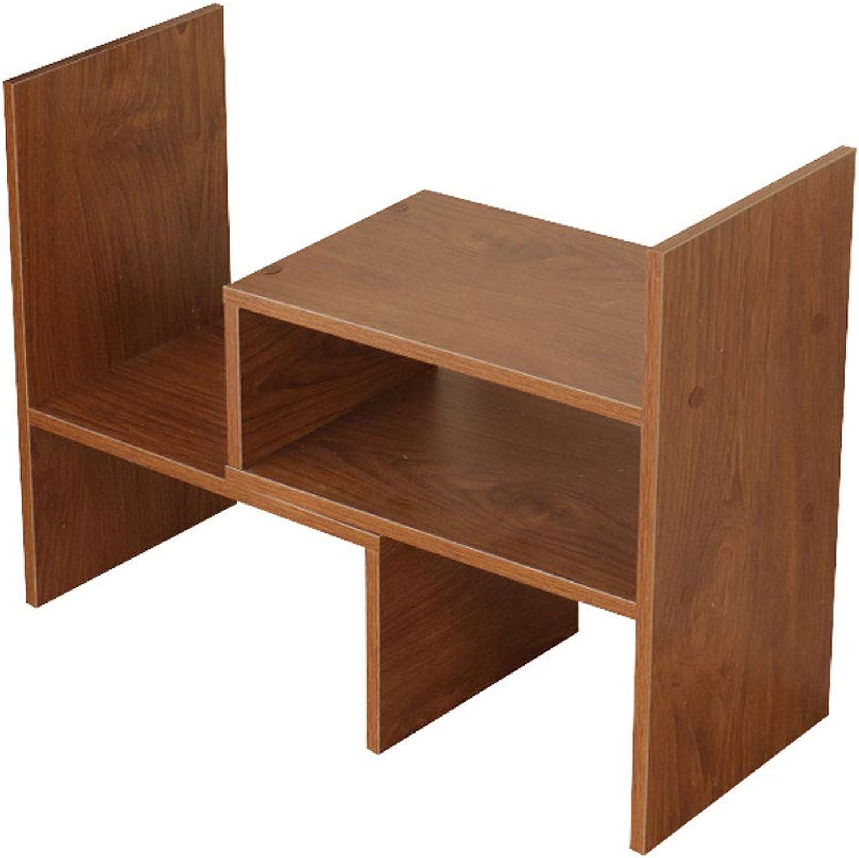 LQQGXLoffice Furniture Bookshelf Bookcase Table Telescopic Storage Rack Office Storage Combination Storage Shelf (color   Cherry Wood)
