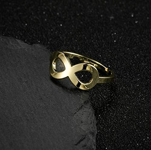 BNFG Open Rings For Womenm,Vintage Adjustable Open Rings Infinity Symbol Hollow Design Golden Ring Fashion Engagement Eternity Xmas Jewellery Gift For Women Girls