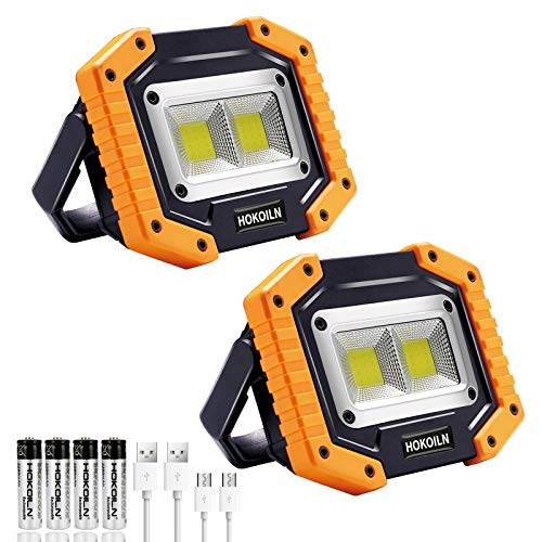 LED Work Light, 2 Pack HOKOILN 2 COB 30W 1500LM Rechargeable Work Light, LED Portable Waterproof LED...